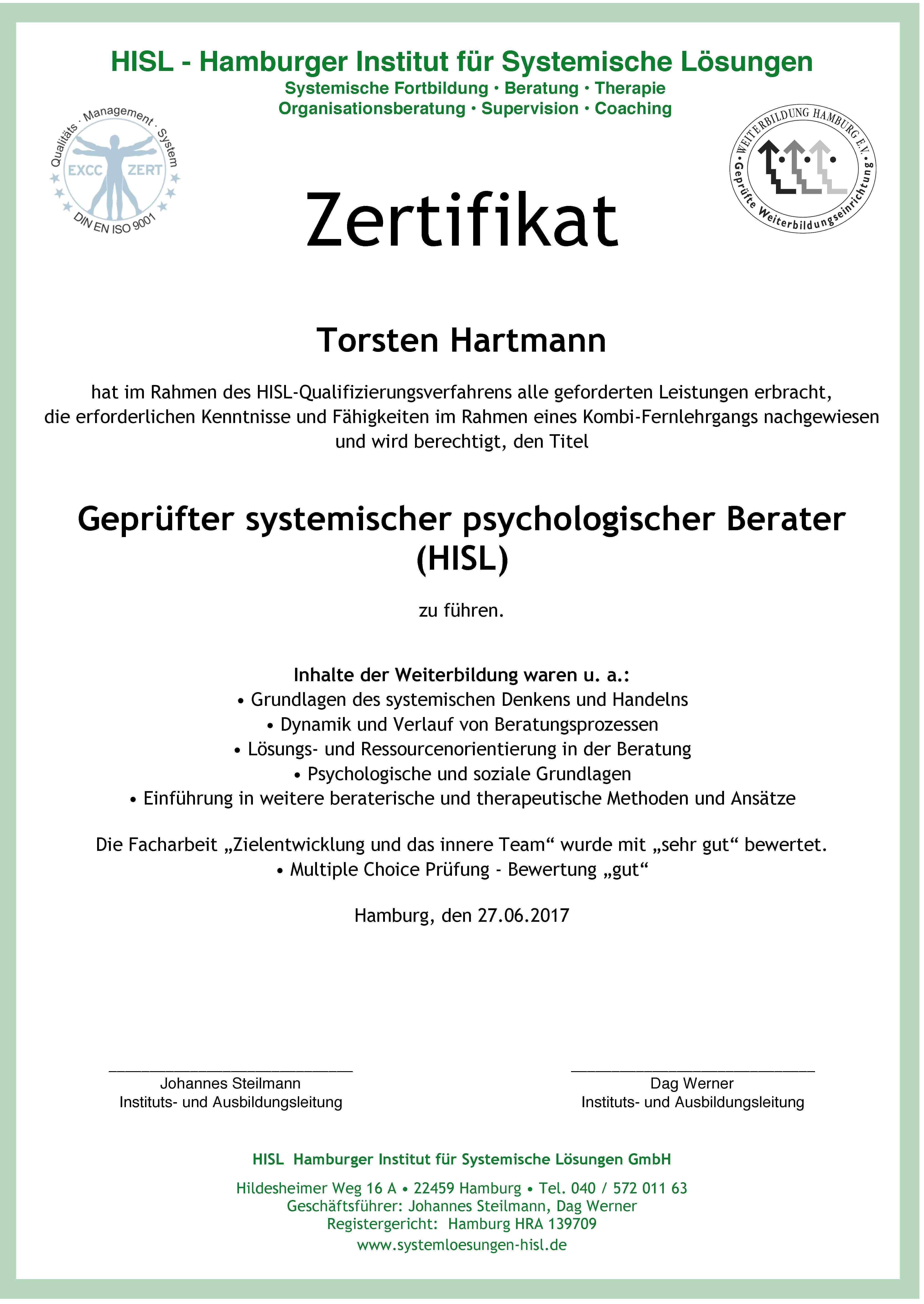 Systemischer psychologischer Berater (KF) - Hamburger Institut für ...
